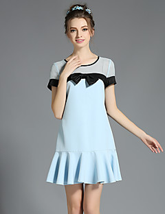 AOFULI Women Large Plus Size Sexy See Through Mesh Hollow Bow Ruffle Short Sleeve Dress