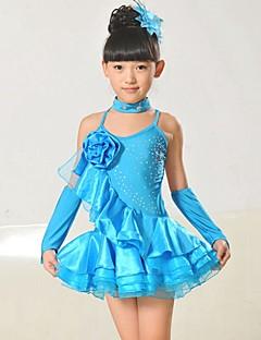 Dança Latina Roupa Crianças Actuação Náilon Chinês / Tafetá Apliques 4 Peças Sem Mangas Natural Vestidos / Neckwear / BraceletesDress