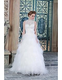 A-라인 웨딩 드레스 바닥 길이 하이 넥 새틴 와 아플리케
