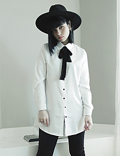 여성의 솔리드 리본 긴 소매 셔츠,심플 캐쥬얼/데일리 화이트 / 그린 면 봄 얇음