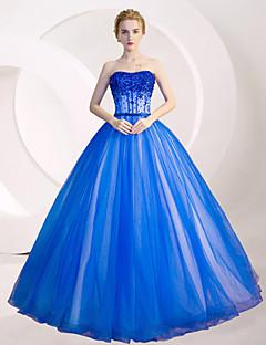 Evento Formal Vestido De Baile Tomara que Caia Longo Tule com Detalhes em Cristal / Lantejoulas