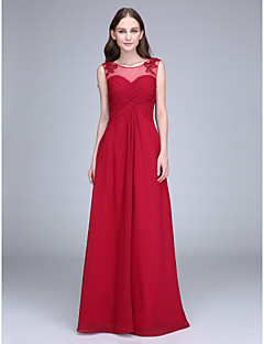 Lanting Bride® Floor-length Chiffon Bridesmaid Dress Sheath / Column Scoop with Appliques / Criss Cross