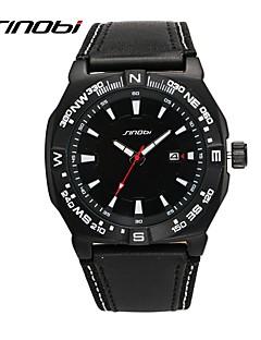 SINOBI Men's Sport Watch Military Watch Water Resistant / Water Proof Shock Resistant Quartz Leather Band Butterfly Black