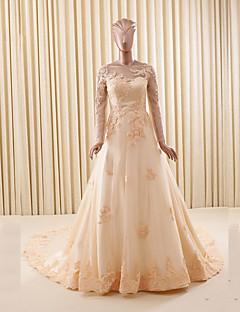 A-line Wedding Dress Chapel Train Bateau Lace / Tulle with Appliques