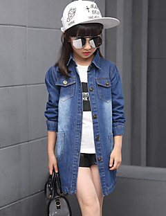 Girl's Casual/Daily Solid Jeans / Trench Coat,Rayon Spring / Fall Blue