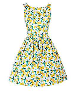 Women's Holiday Vintage Swing Dress,Print Round Neck Knee-length Sleeveless White Polyester Summer