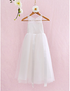 A-line Ankle-length Flower Girl Dress Sleeveless Jewel with Lace / Bandage