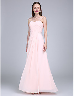 Floor-length Chiffon Bridesmaid Dress Sheath / Column Spaghetti Straps with Criss Cross