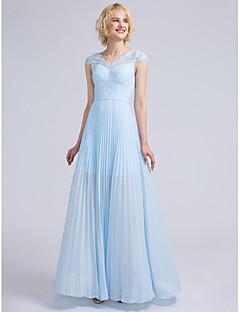 LAN TING BRIDE עד הריצפה צווארון וי שמלה לשושבינה - אלגנטי שרוול קצר שיפון תחרה