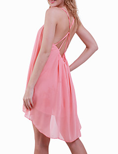 Women's Black/Green/Pink Summer Strap Sexy Backless Solid Color Asymmetrical Swing Midi Dress