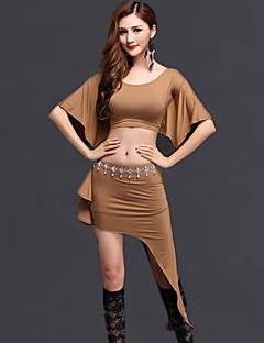 Belly Dance Outfits Women's Performance Modal Draped 2 Pcs Black / Green / Light Gray / Coffee Half Sleeve  Top / Skirt