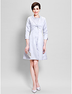 A-line Mother of the Bride Dress Knee-length 3/4 Length Sleeve Charmeuse with