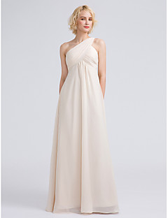 Floor-length Chiffon Bridesmaid Dress Sheath / Column One Shoulder with Criss Cross / Ruching