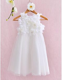 Lanting Bride Ball Gown Knee-length Flower Girl Dress - Tulle Sleeveless Jewel with Flower(s)