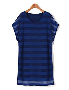 Mulheres Vestido,Casual / Tamanhos Grandes Simples Listrado Decote Redondo Mini Manga Curta Azul / Branco / Bege / Preto Algodão Verão