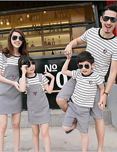 Short Sleeve Cotton Family Clothing Sets,Summer Blouse / Shorts / Overall & Jumpsuit