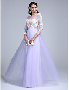 TS Couture® Formal Evening Dress A-line Bateau Floor-length Tulle with Pattern / Print / Sash / Ribbon