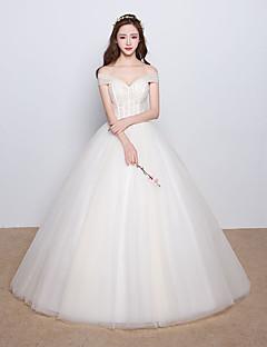 볼 드레스 웨딩 드레스 바닥 길이 오프 더 숄더 새틴 / 튤 와 비즈 / 크리스탈