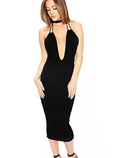 Pochwa Sukienka Obuwie damskie Wyjściowe Seksowna Jendolity kolor,Halter Midi Bez rękawów Biały / Beżowy / Czarny Poliester Lato