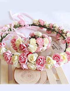 Women's / Flower Girl's Paper Headpiece and Wrist Wedding / Special Occasion Flowers 1 Set