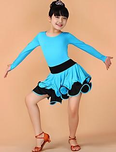 Dança Latina Vestidos Crianças Actuação Náilon Chinês Pano 1 Peça Manga Curta Natural Vestidos XS:52 S:53 M:55 L:57 XL:61 2XL:65