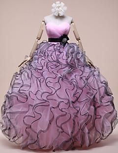 Evento Formal Vestido Salón Corazón Hasta el Suelo Organza con Detalles de Cristal