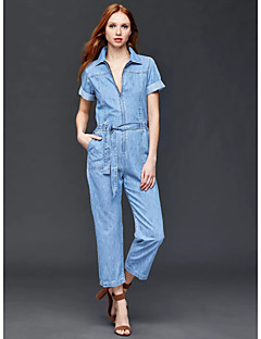 Women's Solid Blue Jumpsuits,Simple Shirt Collar Short Sleeve
