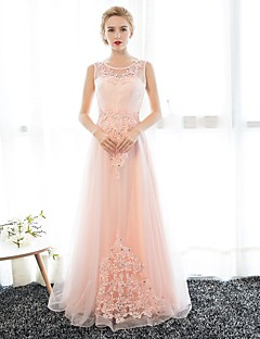 Formal Evening Dress Sheath / Column Scoop Floor-length Satin / Tulle with Appliques / Crystal Detailing