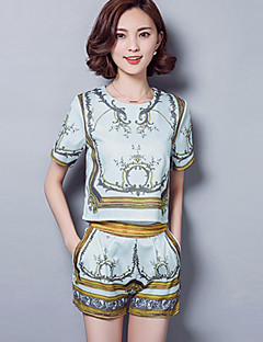 Women's Casual/Daily Vintage / Street chic Summer Set,Print Round Neck Short Sleeve Blue Rayon / Polyester Thin