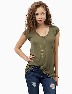 Polyester Grønn Solid Kortermet,V-hals T-skjorte Ensfarget Sommer Enkel Fritid/hverdag Kvinner