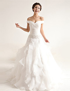 A-line Wedding Dress Court Train Off-the-shoulder Organza with Appliques / Beading / Criss-Cross / Lace / Ruffle