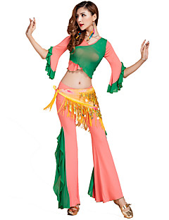 Belly Dance Outfits Women's Training Tulle / Modal Criss-Cross 3 Pieces Light Green / Orange / Light Red / Sky blue