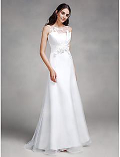 Lanting Bride Trumpet / Mermaid Wedding Dress Sweep / Brush Train Jewel Lace / Organza / Satin with Flower / Lace