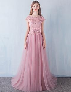 14f8d631a8c Γραμμή Α Μακρύ Δαντέλα Τούλι Ελαστικό Σατέν Επίσημο Βραδινό Φόρεμα με  Χάντρες Φιόγκος(οι)