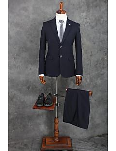 2017 obleky standardní fit zářez jednotlivé prsy dvě tlačítka polyester pruhy 2 kusy černé rovné třepotal