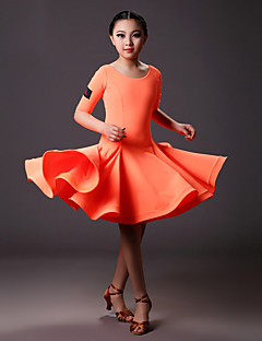 Latin Dance Dresses Children's Training Lycra Draped 1 Piece Half Sleeve Natural Dress S:71cm  M:72cm L:73cm XL:74cm XXL:75cm