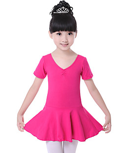 Ballet Dresses Children's Training Cotton Ruched 1 Piece Fashion Ballet Short Sleeve Natural Dress