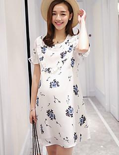Ample Robe Maternité Sortie simple,Fleur Col Arrondi Au dessus du genou Manches Courtes Blanc Polyester Eté