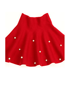 שמלה יום יומי\קז'ואל מנוקד צמר חורף / אביב / סתיו אדום הילדה של