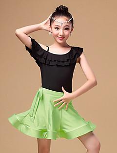 Latin Dance Outfits Children's Performance Chinlon / Milk Fiber Ruffles 3 Pieces Blue / Fuchsia / Green Short Sleeve