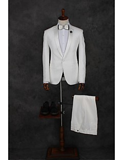 2017 Suits Tailored Fit Notch Single Breasted One-button Polyester Solid 2 Pieces White Straight Piped  WhiteNone