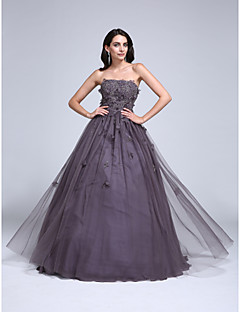 Prom Dress Ball Gown Strapless Floor-length Tulle with Appliques / Beading / Flower(s)