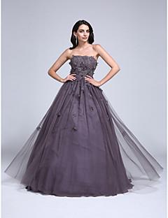TS Couture® Skoleball Dress Ballkjole Stroppeløs Gulvlang Tyll med Appliqué / Perler / Blomst(er)