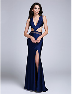TS Couture Formal Evening Dress - Furcal Sheath / Column V-neck Sweep / Brush Train Jersey with Split Front