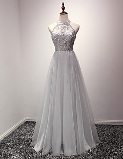 Cocktail Party / Formal Evening Dress A-line Jewel Floor-length Organza with Crystal Detailing