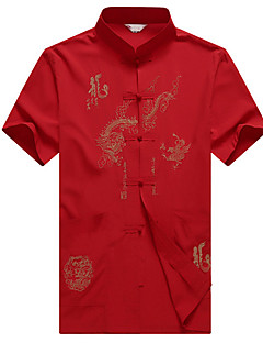 Men's Solid Casual / Sport Shirt,Cotton Short Sleeve Red / Yellow / Gray