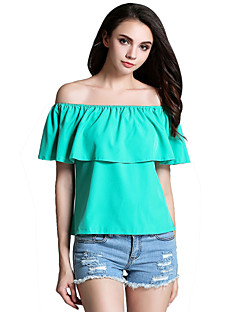Women's Casual/Daily Sexy Summer Blouse,Solid Off Shoulder Short Sleeve Blue / Pink / Red / Green Others Opaque