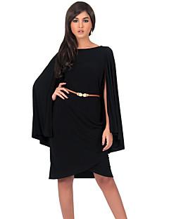 קיץ פוליאסטר אדום / שחור / סגול שרוול ארוך עד הברך צווארון עגול אחיד וינטאג' / סגנון רחוב פורמאלי / מידות גדולות שמלה נשים