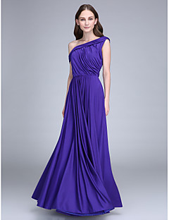 2017 Lanting Bride® Floor-length Jersey Bridesmaid Dress - Sheath / Column One Shoulder with Side Draping