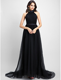 TS Couture Formal Evening Dress - Celebrity Style A-line Halter Chapel Train Tulle with Draping